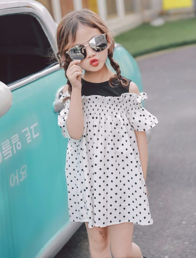 SBAU032WT-58 DRESS LIL POLKA WHITE  SIZE: 7 - 15 (2 - 7 thn)