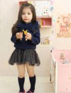 KD989NB-165, TOP FOUR BUTTON RIBBON + SKIRT navy