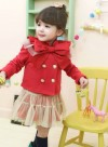 KD989RD-165, TOP FOUR BUTTON RIBBON + SKIRT RED