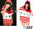 MOM135-50,HELLO KITTY STRIPPE RED